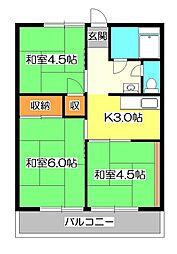 竹丘コーポ[1階]の間取り