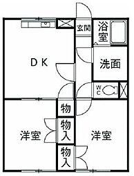 神奈川県伊勢原市三ノ宮の賃貸アパートの間取り