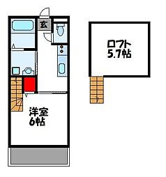 JR鹿児島本線 古賀駅 徒歩10分の賃貸アパート 1階1Kの間取り