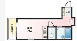 京急空港線 穴守稲荷駅 徒歩3分の賃貸アパート 3階ワンルームの間取り
