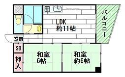 ユニライフ江坂[4階]の間取り