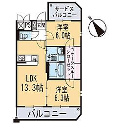 新築東大友町マンション[201号室]の間取り