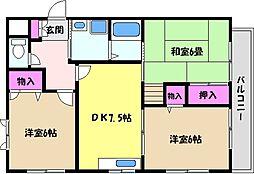 兵庫県芦屋市公光町の賃貸アパートの間取り