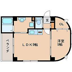 近鉄天理線 天理駅 徒歩4分の賃貸マンション 1階1LDKの間取り