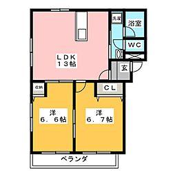 静岡県静岡市駿河区みずほ2丁目の賃貸マンションの間取り
