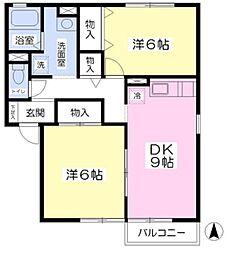 リバーサイドアイルA棟[2階]の間取り