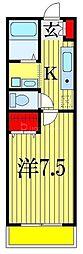JR総武線 船橋駅 徒歩26分の賃貸アパート 3階1Kの間取り