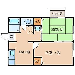奈良県橿原市川西町の賃貸アパートの間取り