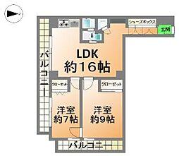 南堀江スカイハイツ[13階]の間取り