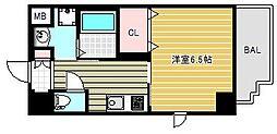 アール大阪グランデ 9階1Kの間取り