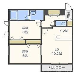 北海道札幌市中央区宮の森一条11丁目の賃貸マンションの間取り