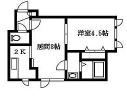 北海道札幌市豊平区美園十一条4丁目の賃貸アパートの間取り