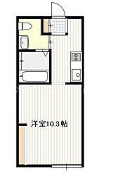 広島電鉄宮島線 草津駅 徒歩5分の賃貸アパート 2階ワンルームの間取り