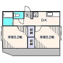 東京都東久留米市浅間町1丁目の賃貸アパートの間取り