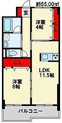 福岡県北九州市若松区童子丸2丁目の賃貸マンションの間取り