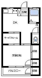 神奈川県横浜市磯子区栗木1丁目の賃貸マンションの間取り