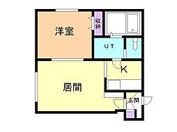 リラコート澄川 2階1DKの間取り