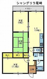 シャングリラ尾崎[4階]の間取り