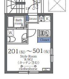 ラフォート菊川 3階1Kの間取り