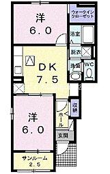 岡山県岡山市北区御津野々口の賃貸アパートの間取り