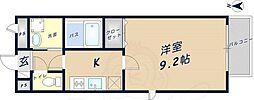 近鉄奈良線 河内花園駅 徒歩10分の賃貸アパート 2階1Kの間取り