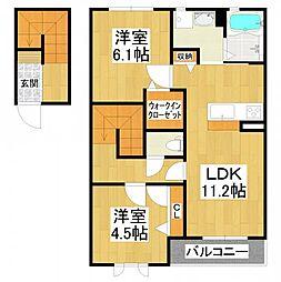 大阪府堺市東区日置荘西町3丁の賃貸アパートの間取り