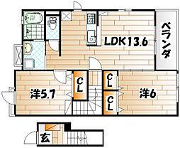 ドミール赤坂[2階]の間取り