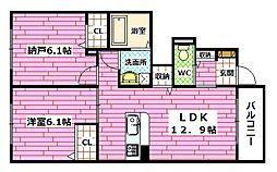 クオーレ大町東 B棟[103号室]の間取り