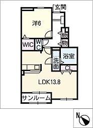 プラシード D棟[1階]の間取り