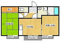 ハピネスYI[1階]の間取り