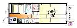 大阪府摂津市東正雀の賃貸アパートの間取り