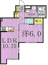 千葉県柏市緑ケ丘の賃貸アパートの間取り