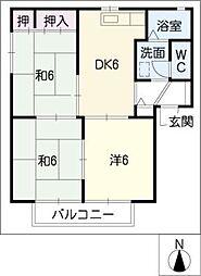 ストリートサイド・長谷川 C棟[2階]の間取り