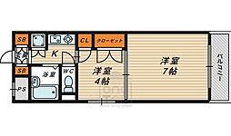 おおさか東線 JR野江駅 徒歩12分の賃貸マンション 4階2Kの間取り