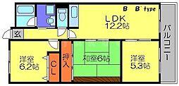 キャッスルクイーン 6階3LDKの間取り