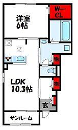JR鹿児島本線 福間駅 4kmの賃貸アパート 1階1LDKの間取り