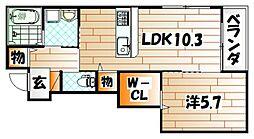 福岡県北九州市小倉北区小文字1丁目の賃貸アパートの間取り