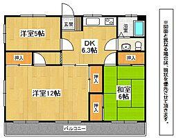 福岡県北九州市小倉北区泉台3丁目の賃貸マンションの間取り