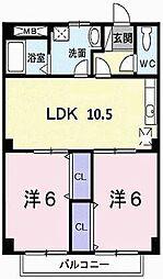 兵庫県加古川市別府町新野辺北町5の賃貸アパートの間取り