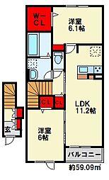 コスモス K 2階2LDKの間取り