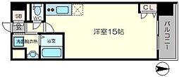 TAKUTOSTAY NAMBAEBISUWEST 11階ワンルームの間取り