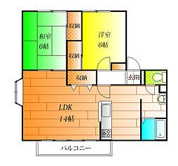 サンビレッジ小山 B[2階]の間取り