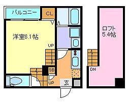 JR仙石線 陸前原ノ町駅 徒歩8分の賃貸アパート 1階1Kの間取り