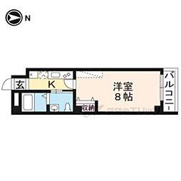 京福電気鉄道北野線 北野白梅町駅 徒歩15分の賃貸マンション 5階1Kの間取り