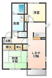 千葉県東金市上谷の賃貸アパートの間取り