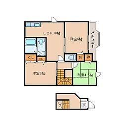 奈良県五條市二見の賃貸アパートの間取り