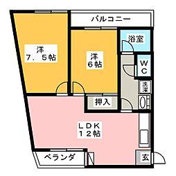 ハイツ中柳[5階]の間取り