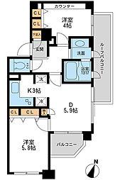 クリオ上野毛ラ・モード[9階]の間取り
