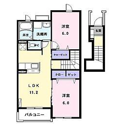 コンフォート江松II[202号室]の間取り