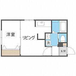 札幌市営東西線 バスセンター前駅 徒歩5分の賃貸マンション 4階1LDKの間取り